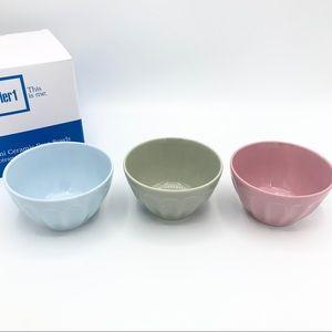 Pier 1 Mini Ceramic Prep Bowls Set of 3 NIB